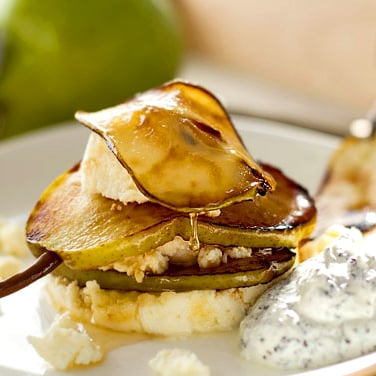 Caramelised Honey Pear With Ricotta & Poppy Seed Yoghurt