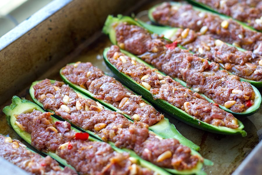 Stuffing zucchini with ground beef or lamb