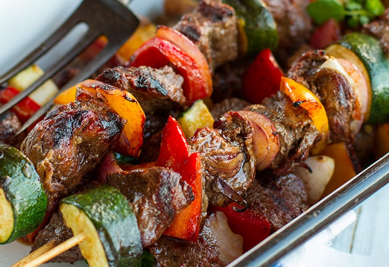 Kangaroo & Vegetable Skewers In Red Wine Marinade
