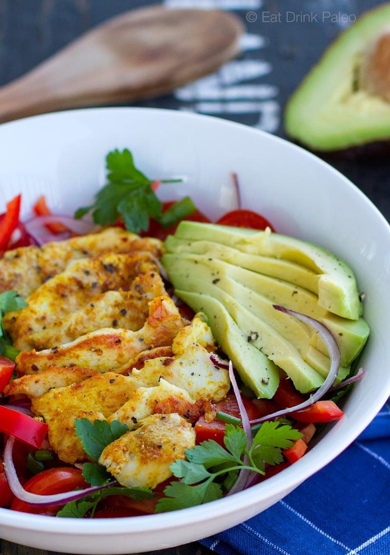 Warm Chicken & Avocado Salad - paleo, gluten free, real food