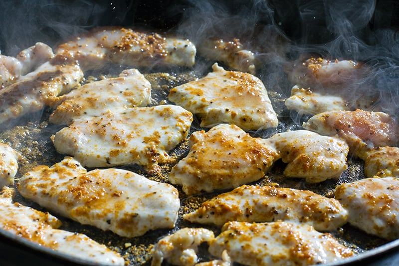 Grilling chicken for salad