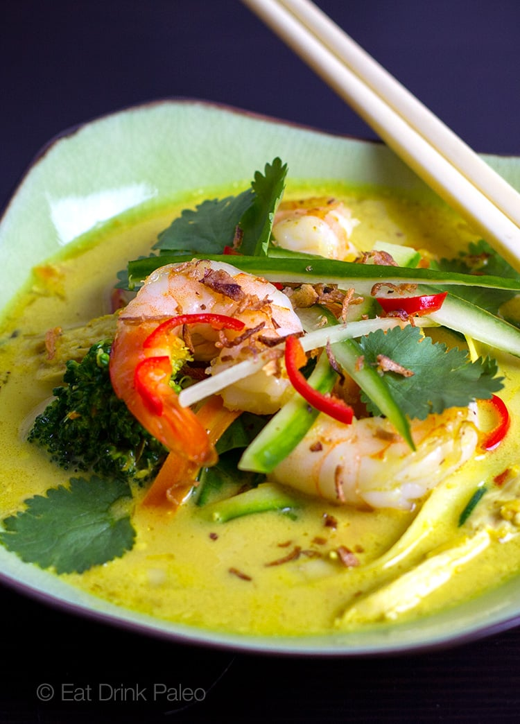Paleo friendly Thai Prawn & Chicken Laksa Soup