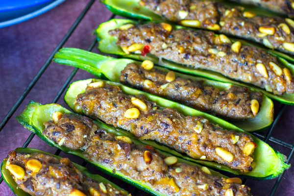 Lamb Stuffed Zucchini Boats With Romesco Sauce