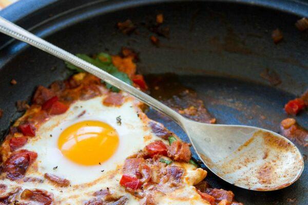Moroccan shakshouka baked eggs tagine