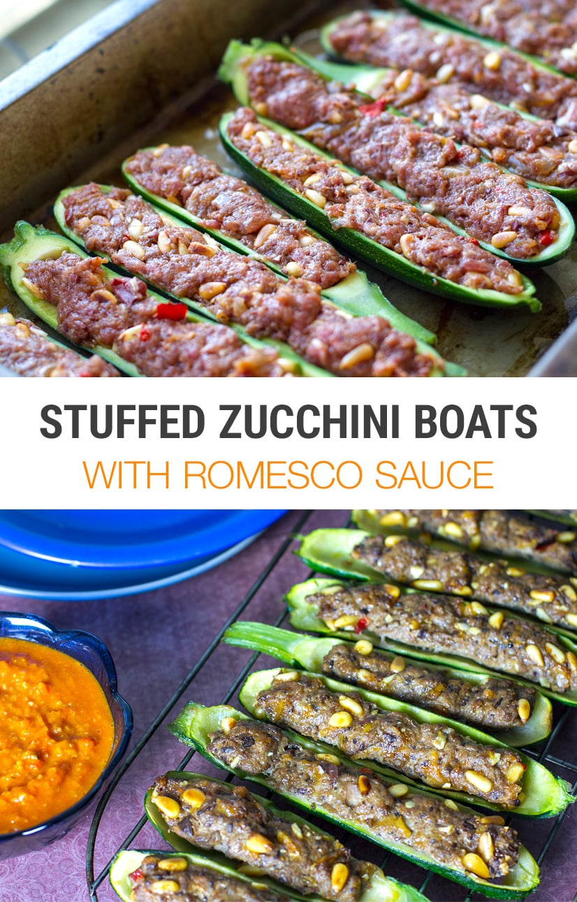 Lamb Stuffed Zucchini Boats With Romesco-Inspired Sauce | Paleo, Whole30, Keto, Gluten-free | Can be made with ground beef, chicken or turkey
