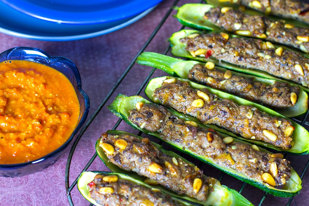 Stuffed Zucchini Boats With Lamb & Romesco Sauce