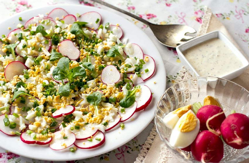 Healthy Radish Salad With Hard-Boiled Eggs & Creamy Dressing (Keto, Primal/Paleo, Gluten-free)