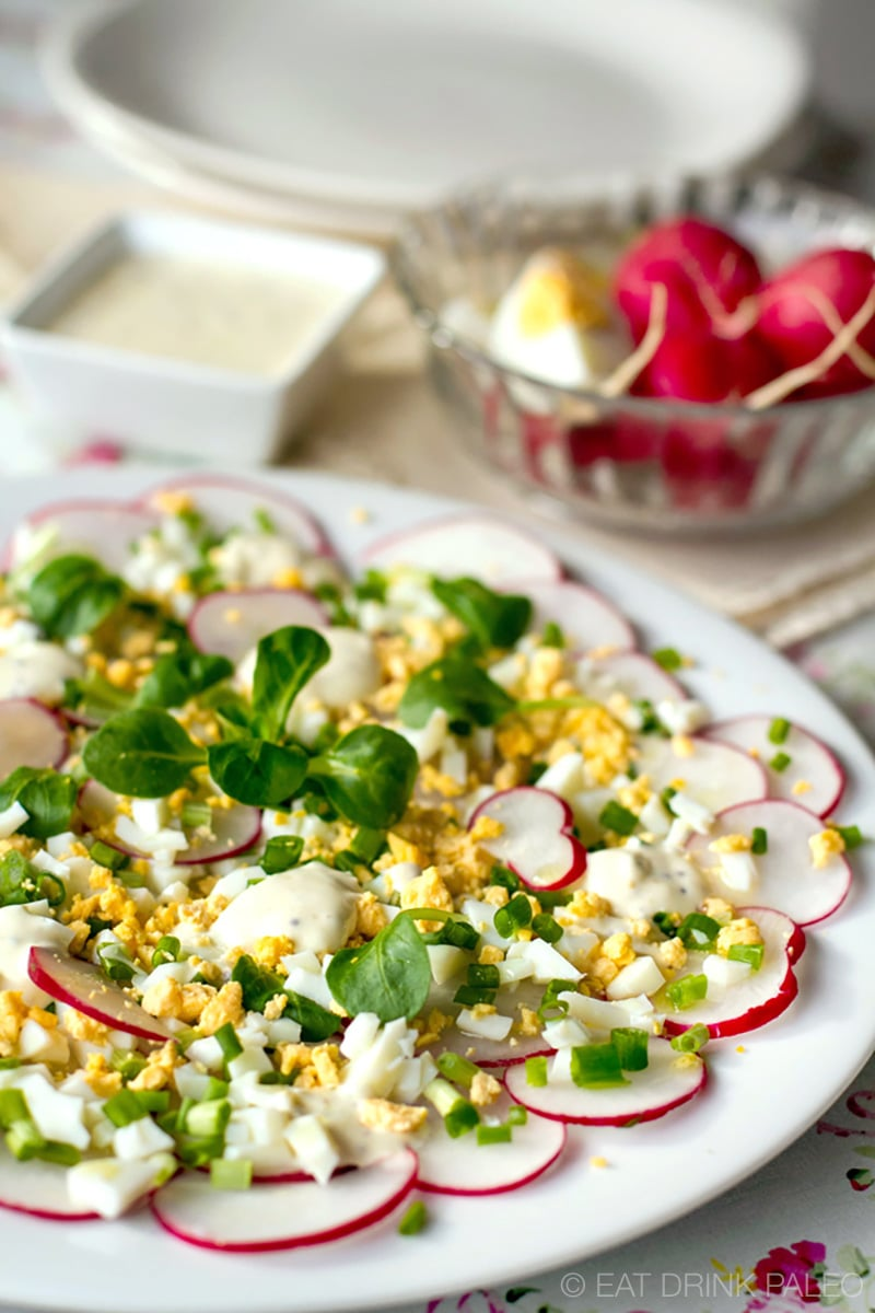 Radish Salad With Egg & Creamy Dressing (Keto, Paleo, Whole30)