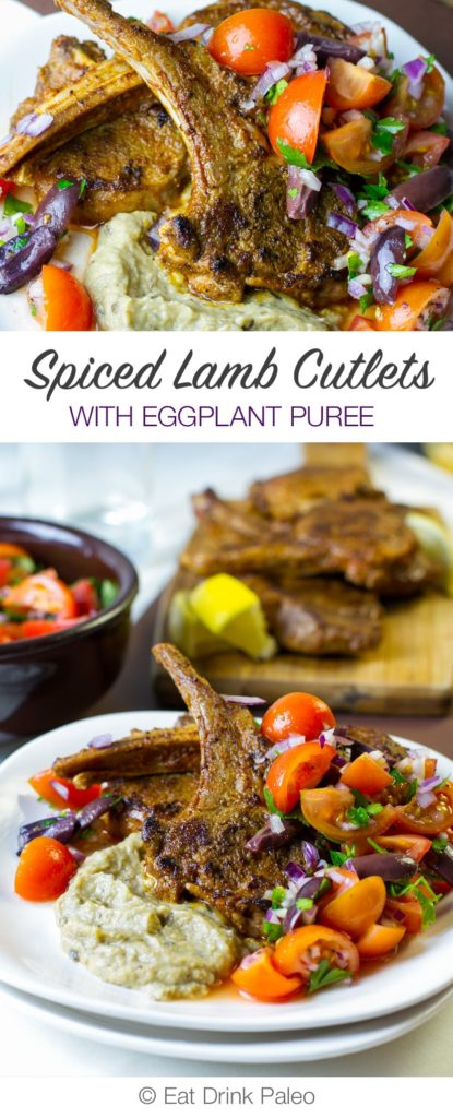 Spiced Lamb Cutlets with Eggplant Puree & Tomato Olive Salad