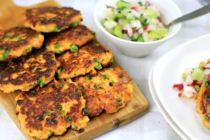 Paleo Salmon Fish Cakes With Radish & Celery Salsa