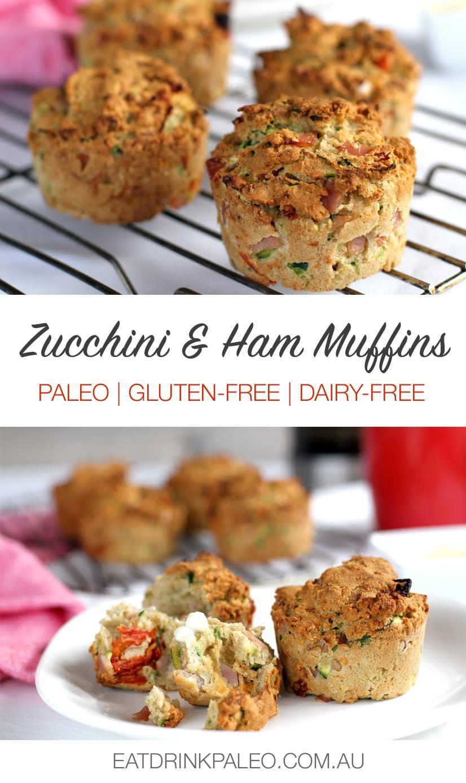 Savoury Paleo Zucchini Muffins With Ham & Sun-dried Tomatoes
