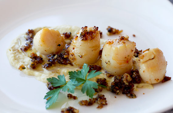 scallops recipe with leek confit puree