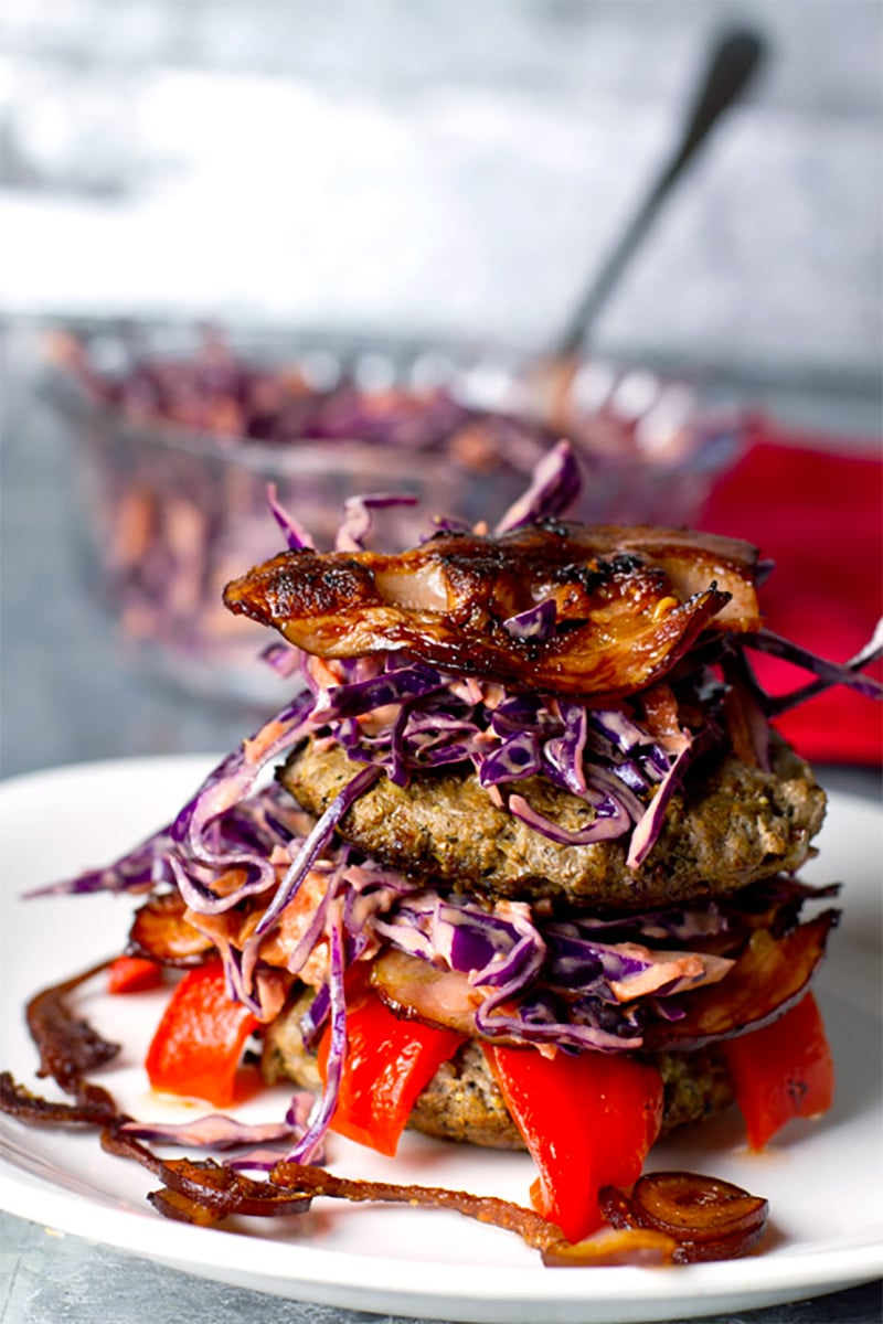 Paleo Beef Burgers With Mustard & Bacon + Red Cabbage Slaw
