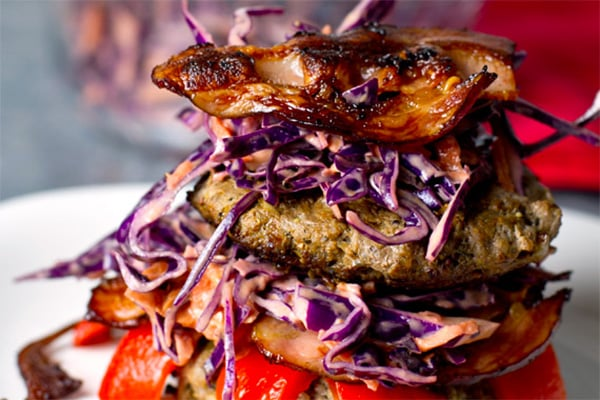 Mustard Beef & Bacon Burgers with Red Cabbage Slaw (Paleo, Whole30)