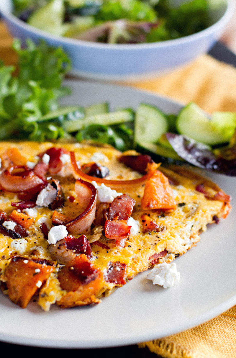 Sweet Potato Omelette With Crispy Bacon & Goat's Cheese