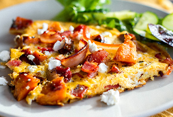 Sweet potato omelette with bacon