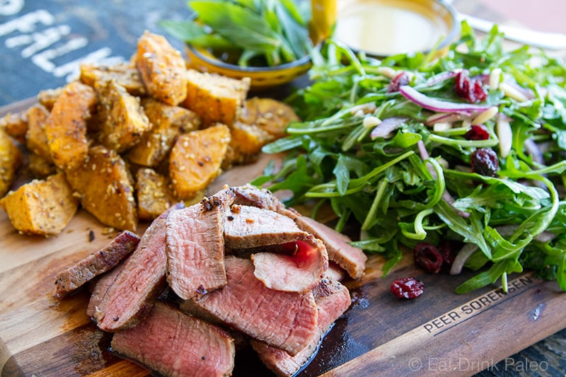 Dukkah Crusted Pumpkin & Beef Salad with Rocket & Tahini Garlic Dressing