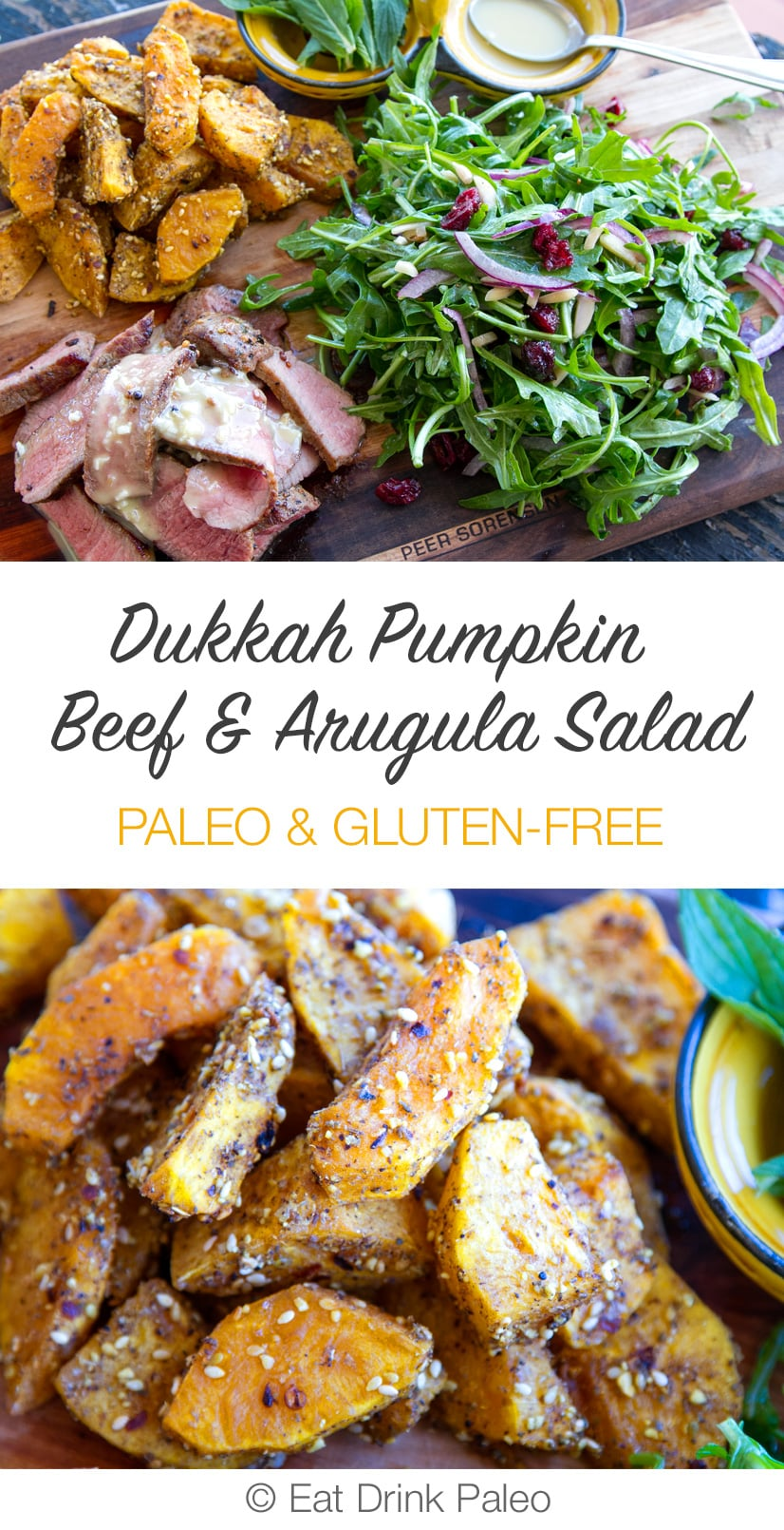 Dukka Crusted Pumpkin & Beef Salad with Rocket & Tahini Garlic Dressing