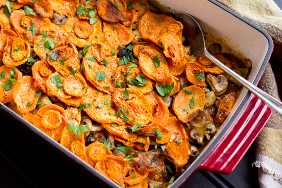 Sweet potato gratin with mushrooms (paleo, gluten-free)