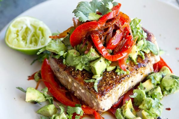 Tuna Steaks With Mexican Spices, Red Peppers & Avocado Salsa