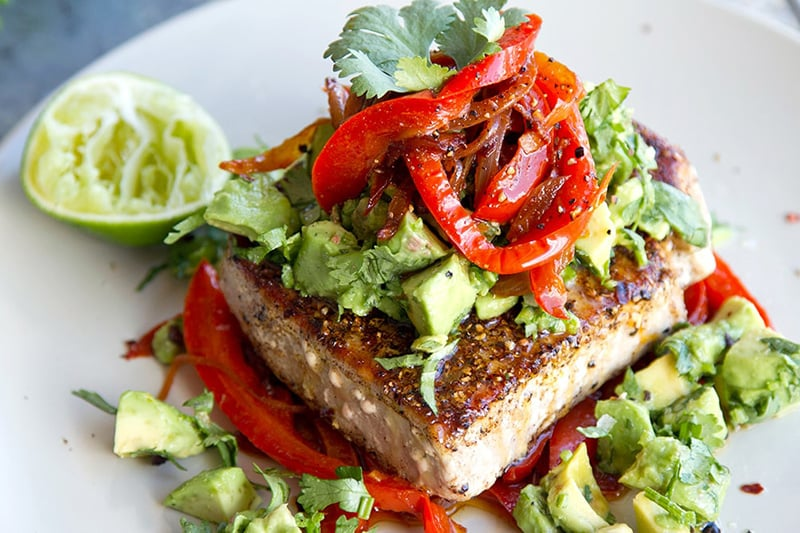 Paleo Tuna Steaks With Mexican Spices, Red Peppers & Avocado Salsa