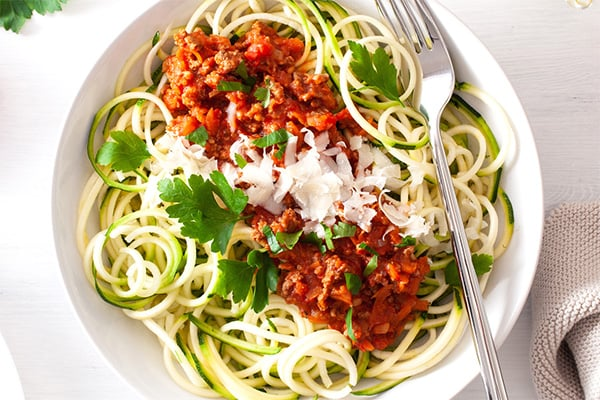 Paleo spaghetti Bolognese with zucchini noodles