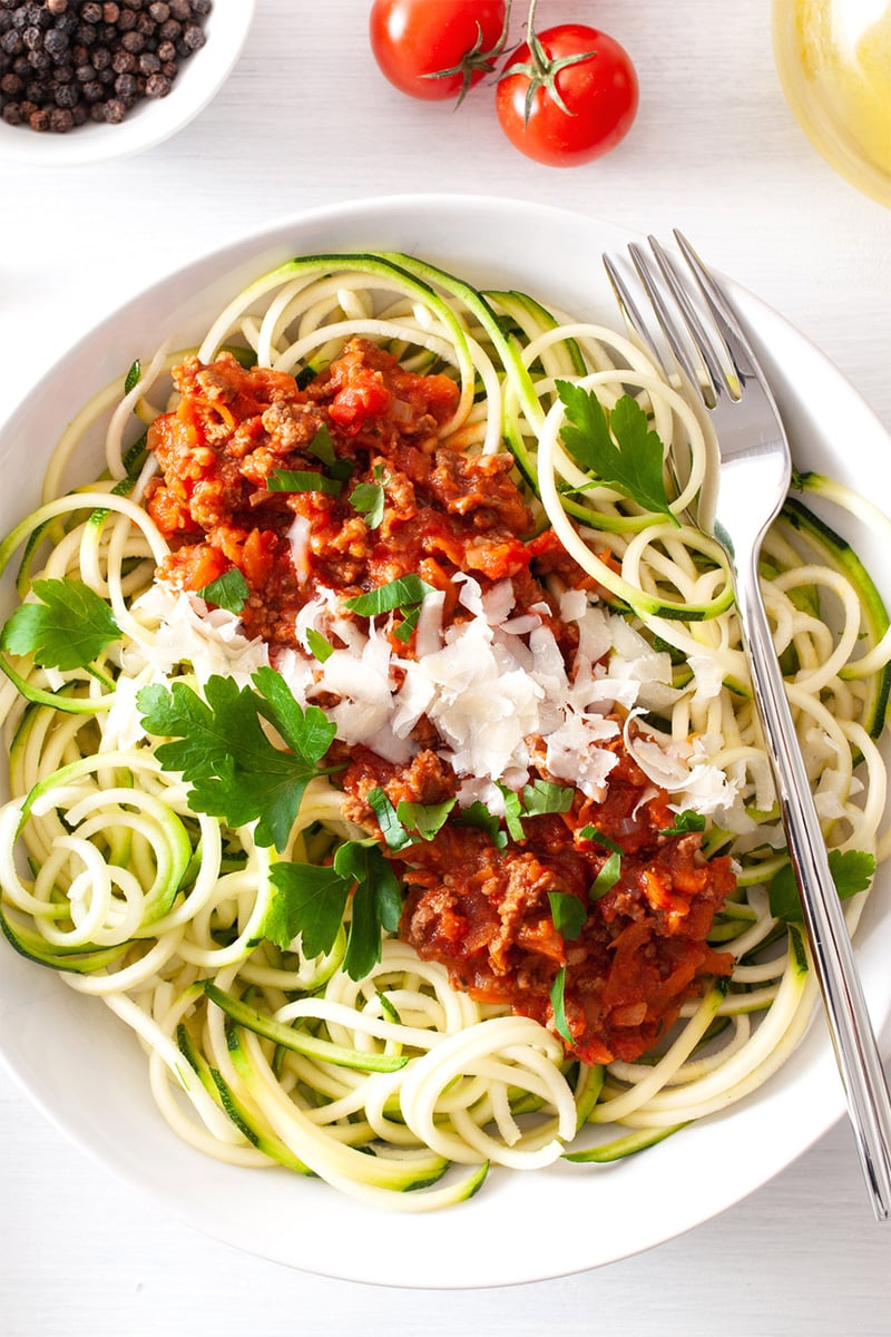 Paleo spaghetti Bolognese with zucchini noodles