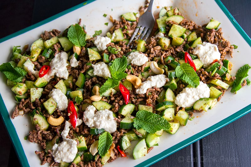 Spicy Beef Salad With Cucumber, Mint & Cashew Raita