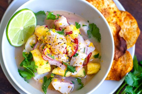 Tilapia Ceviche With Pineapple & Yam Chips