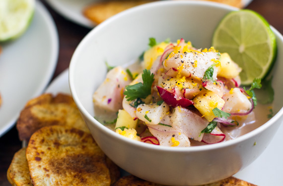 tilapia ceviche with pineapple