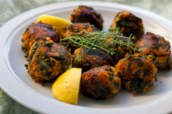 Paleo spinach and sweet potato dumplings