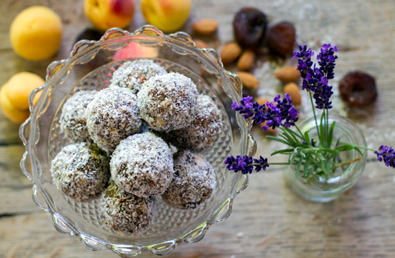 paleo energy balls with apricot and lavender