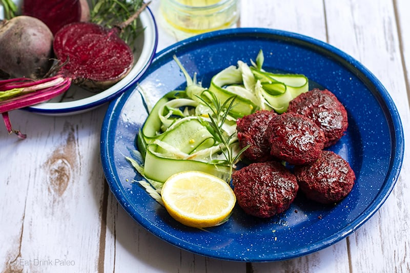 Beetroot Beef & Rosemary Burgers With Fennel Cucumber Salad