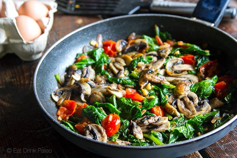 Mushroom spinach fry up