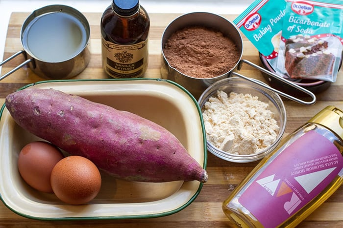 Ingredients for paleo chocolate brownies made with sweet potatoes