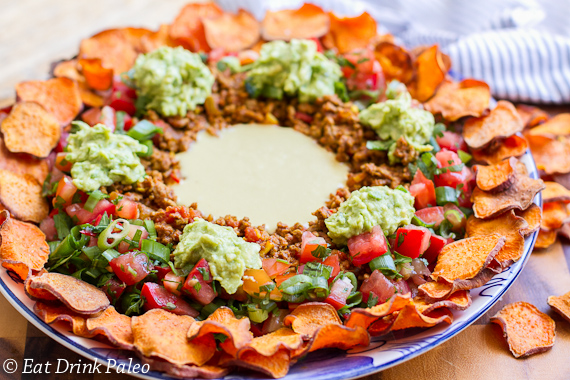 Paleo nachos with sweet potato chips