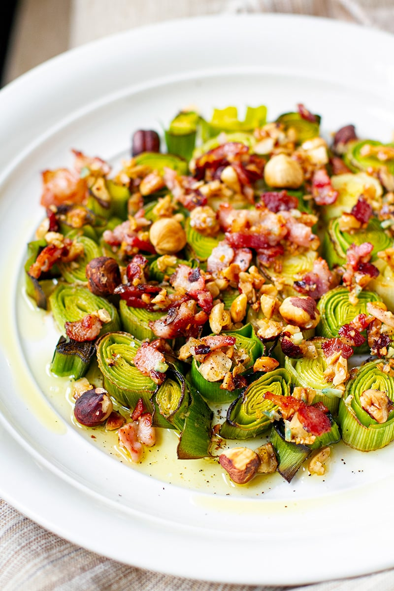 Roasted Leeks With Bacon & Hazelnut Dressing