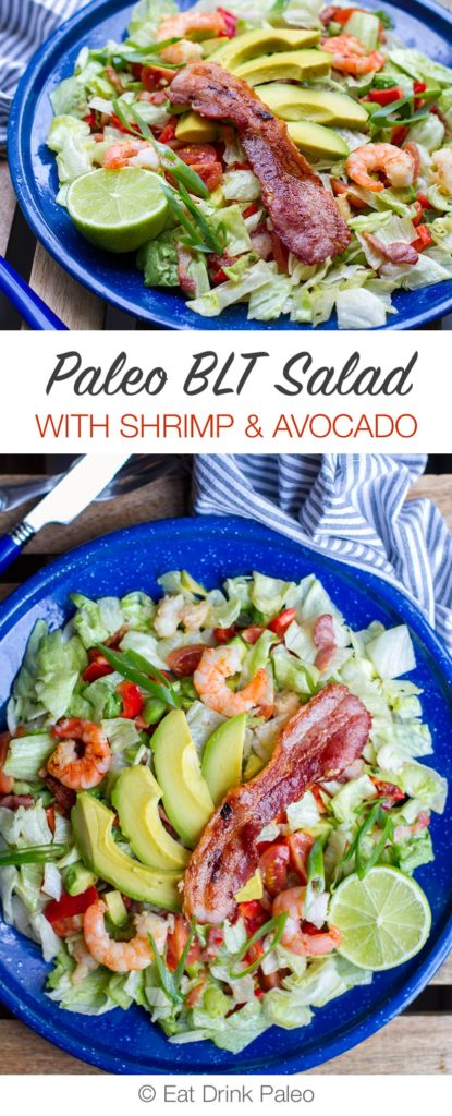 Paleo BLT Salad with Shrimp & Avocado