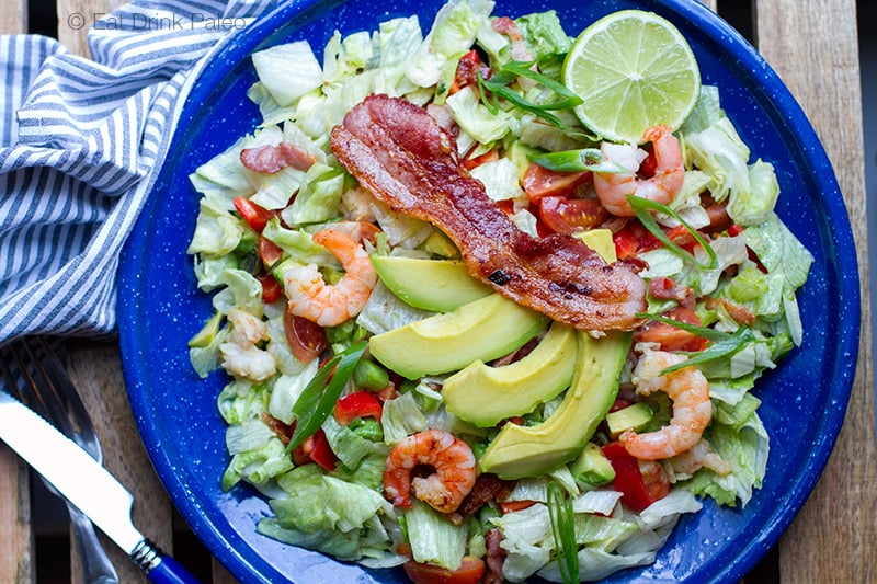 Paleo BLT Salad with Prawns & Avocado