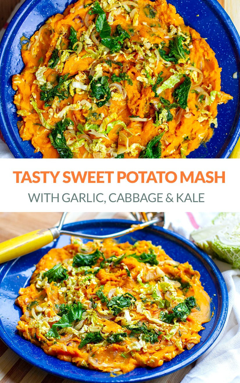 Paleo Sweet Potato Mash With Cabbage, Kale & Garlic