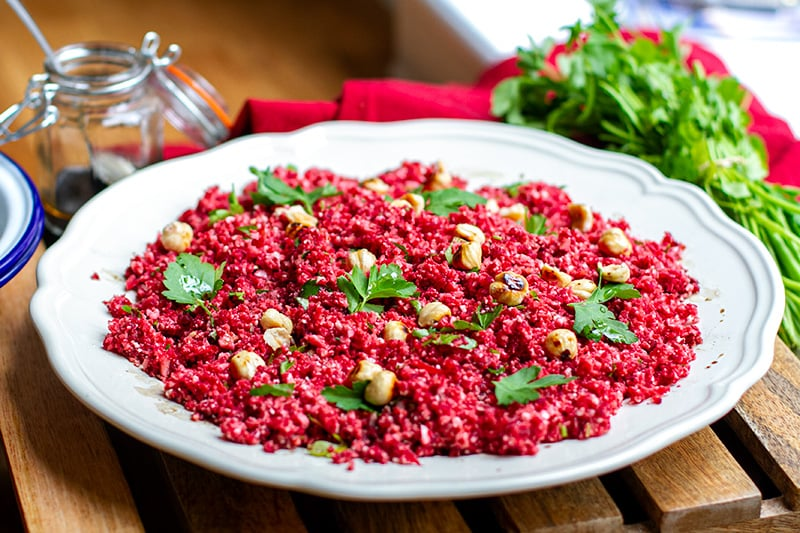 Cauliflower couscous with beets & hazelnuts (low-carb, grain-free, paleo, vegan, Whole30)