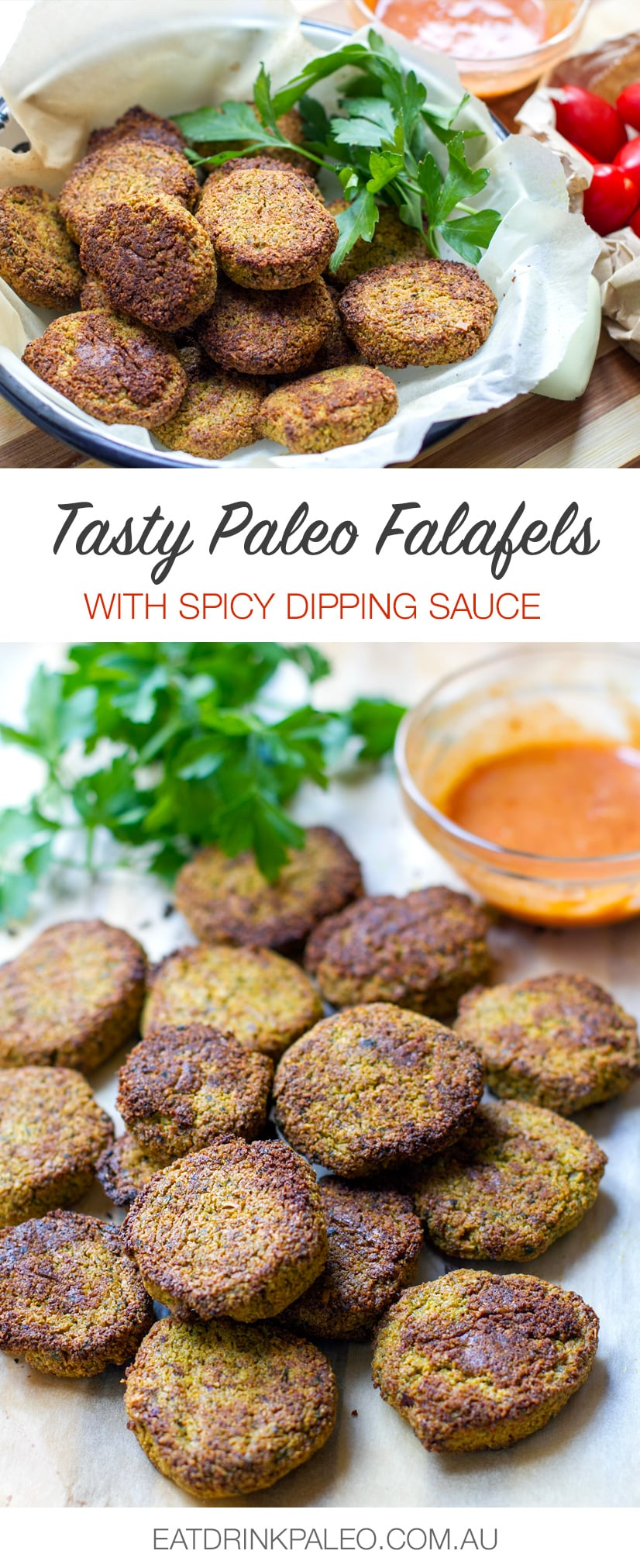 Paleo Falafels With Spicy Dipping Sauce