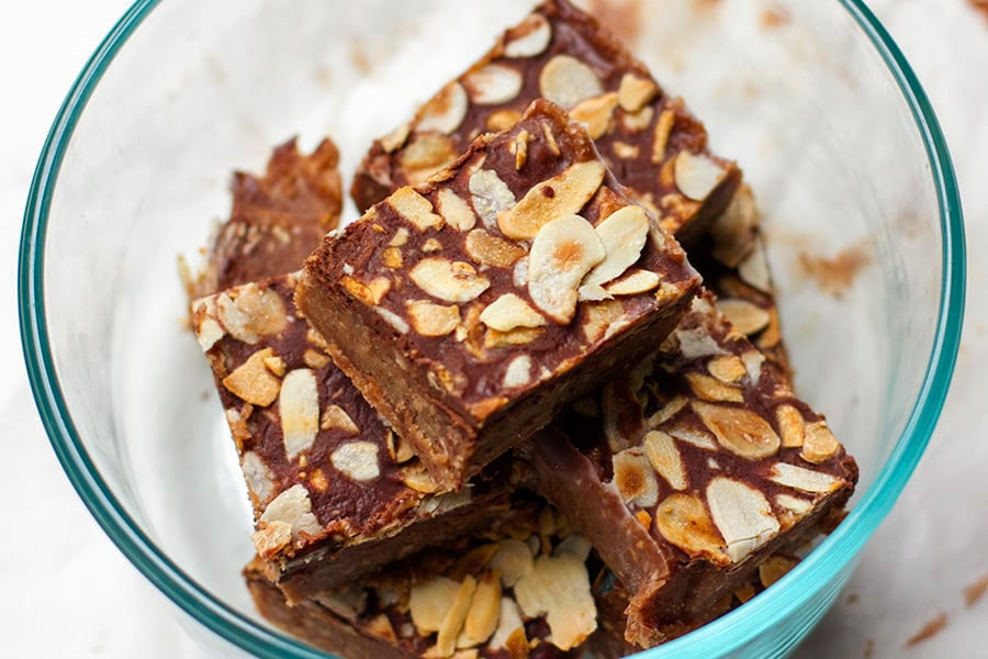No Bake Homemade Caramel Fudge With Chocolate & Almonds