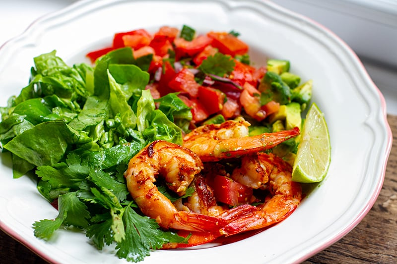 Mexican Prawn Avocado Salad With Tomato Salsa