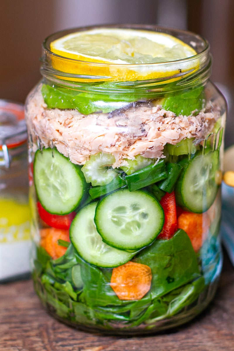 Mason Salad Jar With Canned Salmon Cucumber & Creamy Dressing