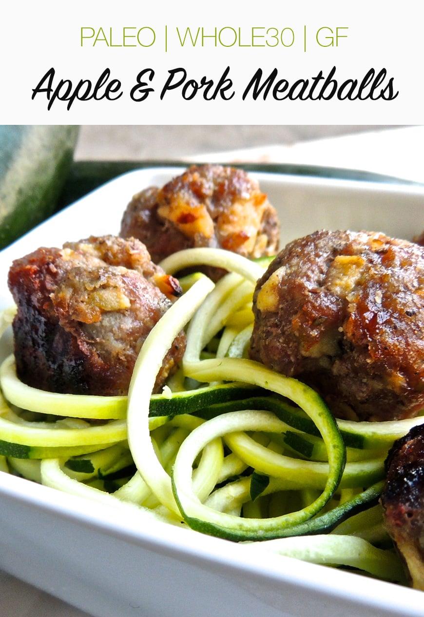Baked Apple & Pork Meatballs (Paleo, Gluten-free, Whole30)