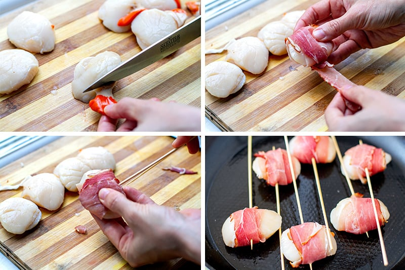 How to prepare scallop skewers with bacon