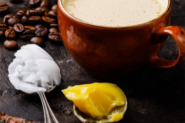 Bulletproof coffee recipe with coconut oil and ghee or butter