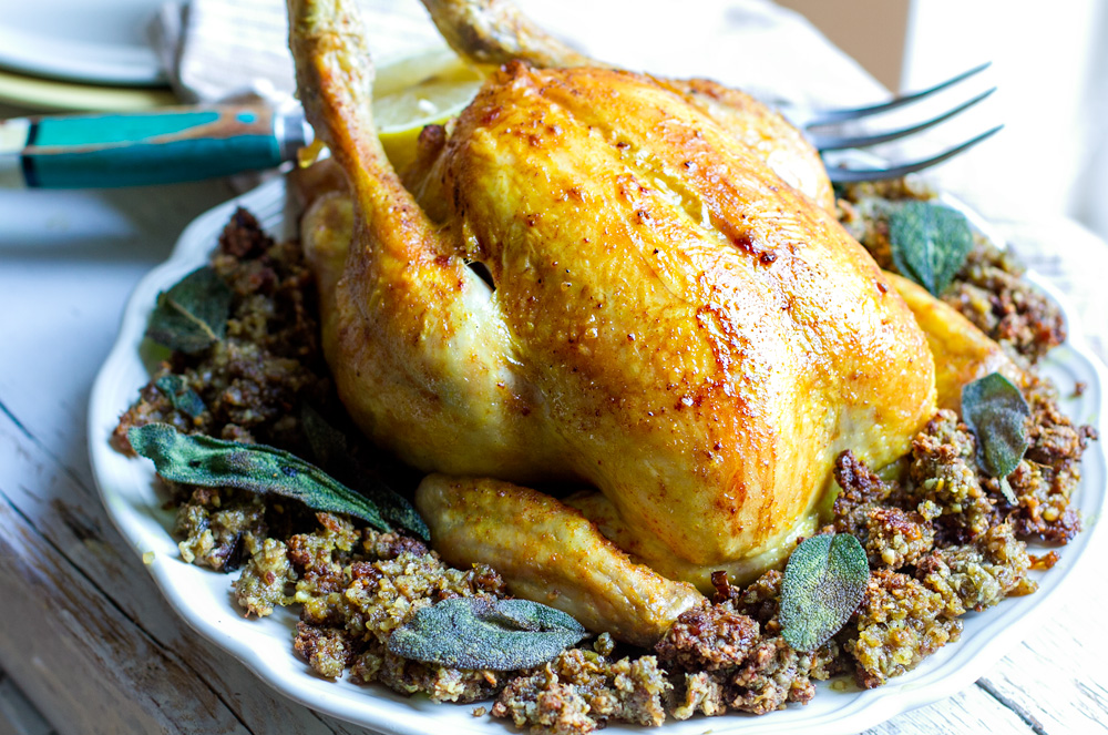 Paleo Roast Chicken With Inside Out Stuffing