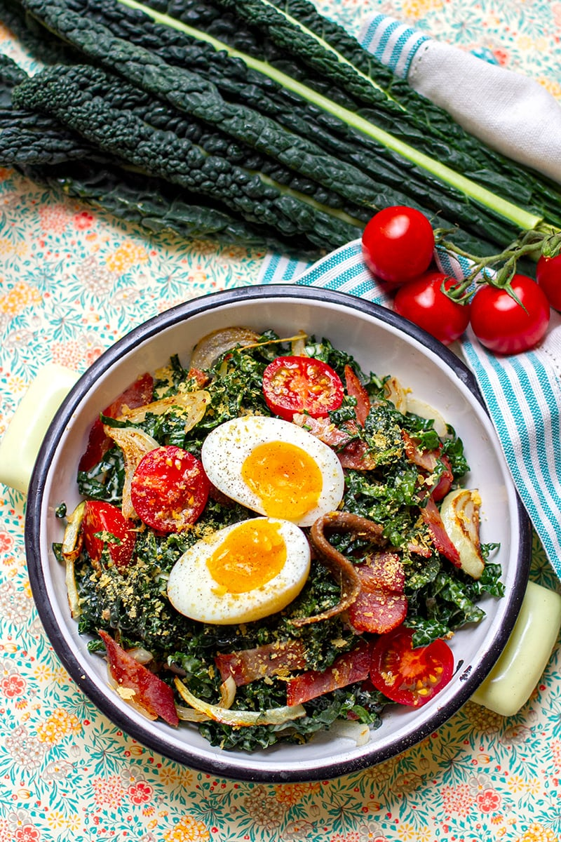 Paleo Kale Caesar Salad With Soft-Boiled Eggs